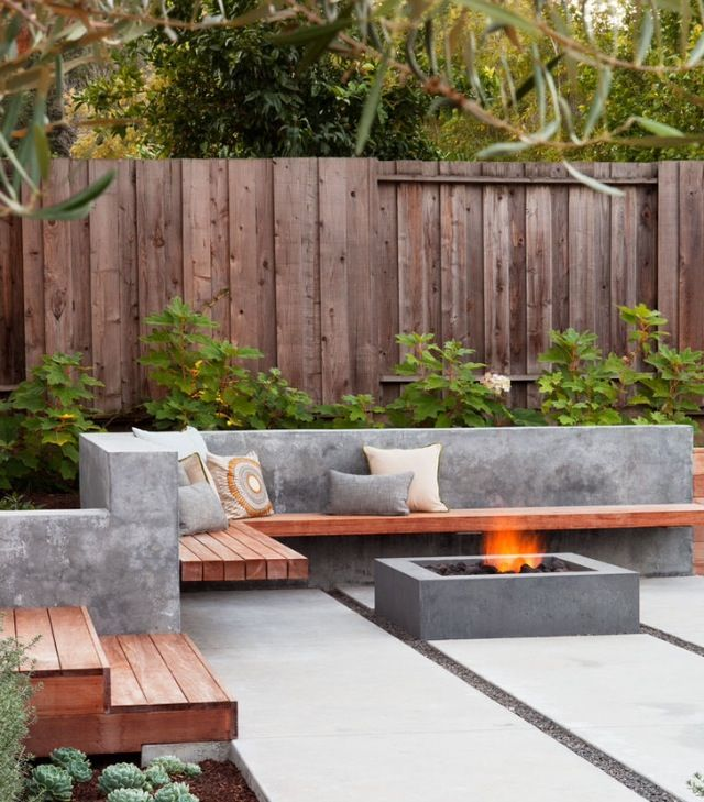 Love the firepit and the benches —if you could find some free-standing ones.