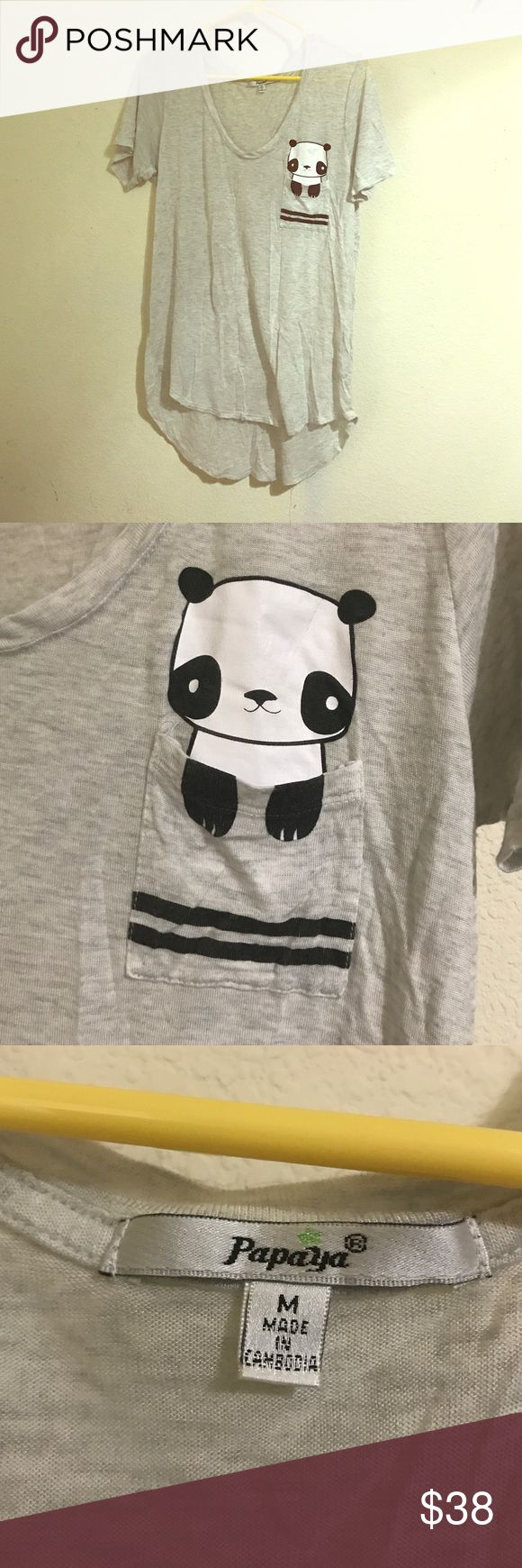 Cute Panda Loose T-shirt Loose gray t-shirt with panda detail on the pocket. Papaya Clothing  Tops Tees - Short Sleeve
