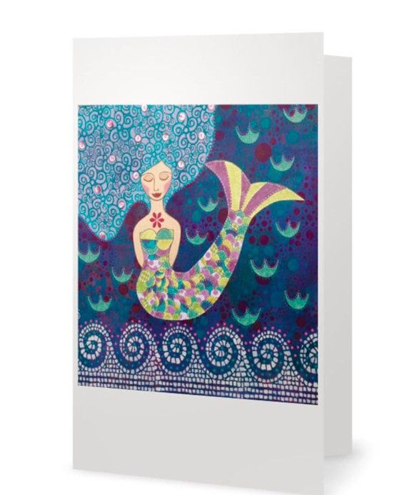 BLANK CARD 'Mermaid Dreaming'  mixed media by MrsButtonsEmporium