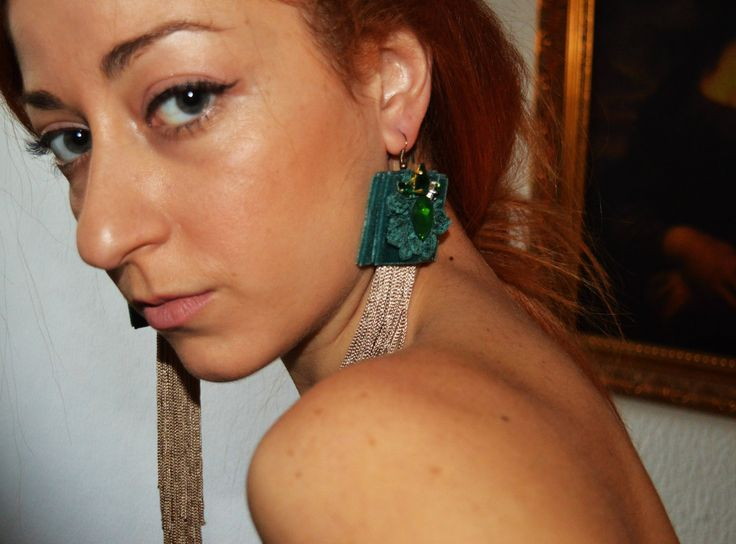 Turquoise velvet earrings with crystals and flower