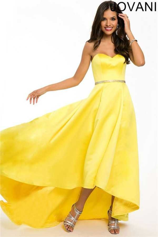 Jovani 22737 Tea Length Strapless Beaded Waist Hi Low Skirt Yellow Prom Dresses Discount
