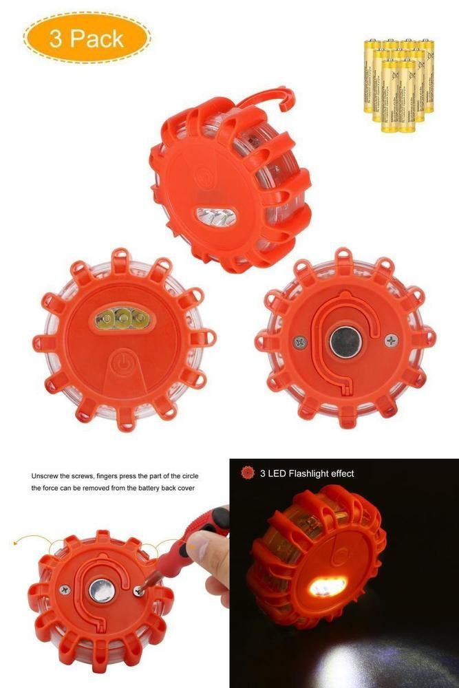 LED Road Flares Emergency Disc Roadside Safety Flare Lights 3 Pack #Doesnotapply