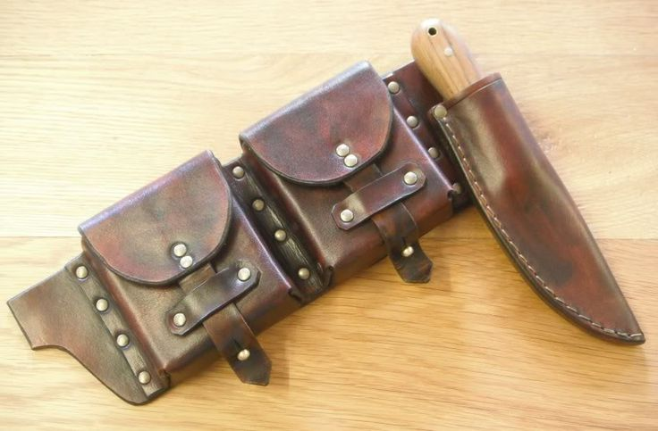 double pouch with knife and sheath