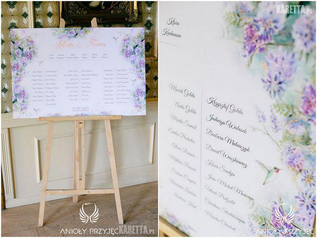 Lilac Wedding,Table Plan,Humming-bird,Lilac | Wesele z bzem,Tablica z rozsadzeniem gości,Koliber,Bez,Anioły Przyjęć