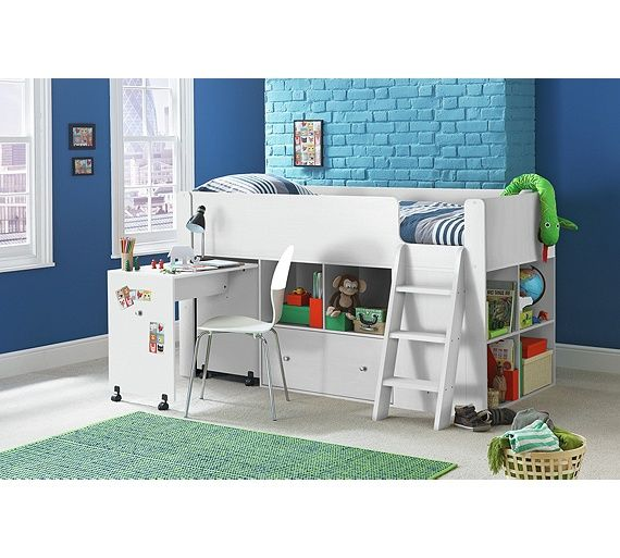 Buy Qubrick Storage Single Midsleeper Bed - White at Argos.co.uk, visit Argos.co.uk to shop online for Children's beds, Beds, Home and garden
