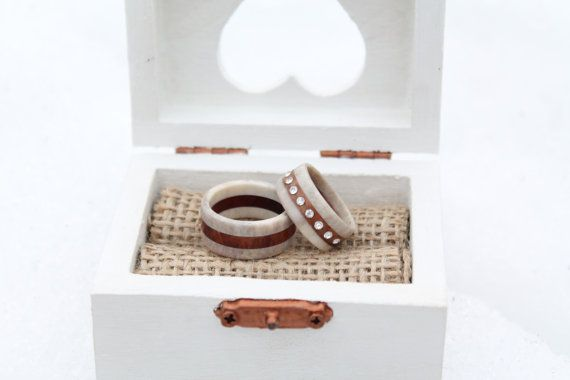 Swedish wedding ring wood antler wedding ring set by NORDICJEWELRY, kr1250.00