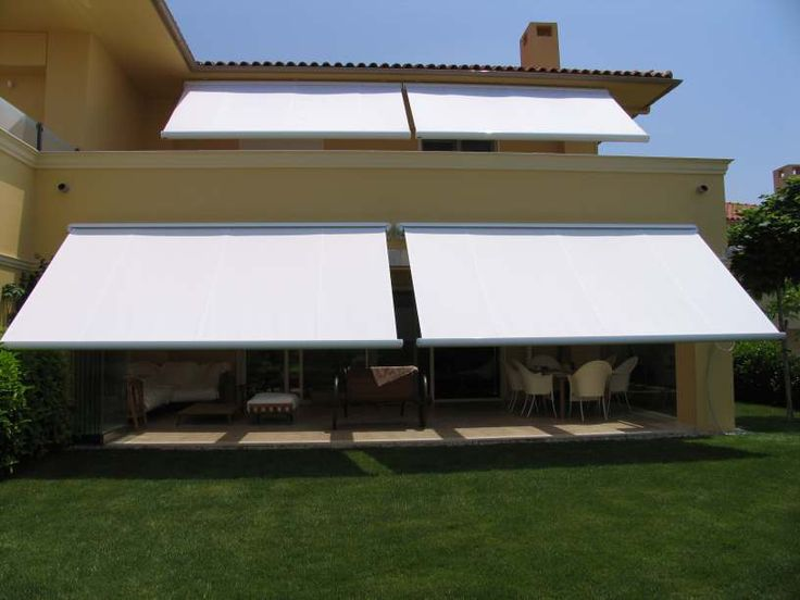 Retractable awnings - here is an example of an cassette awning which typically have a range of only 14 feet in width, to cover a large area you need two but can be tied to one operating system