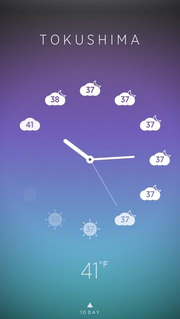 ↑ご覧の通り、時計部分の文字盤がその時刻の天気アイコンになっている!!!!