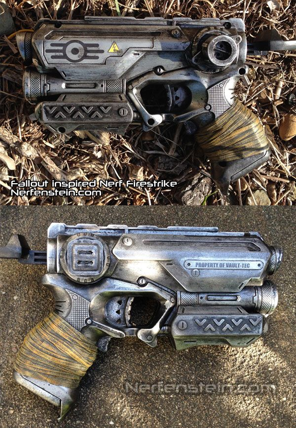 Fallout pistol Nerf mod - Vault-Tec themed Nerf Firestrike pistol prop. This was one of a set of three I did.