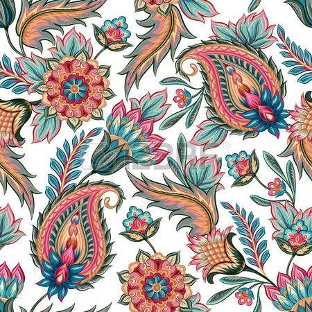 Бесшовный: Традиционный восточный бесшовные Пейсли узор. Урожай фон цветы. Декоративные фон украшение для ткани, текстиль, оберточная бумага, открытки, приглашения, обои, веб-дизайн.