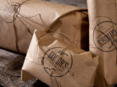 Taylors Ol' Fashion Meats brands at every touch point. Their packaging is in line with their brand personality, sending customers back to the day where butchers weren't just part of supermarkets. #Meat #Retail #Packaging