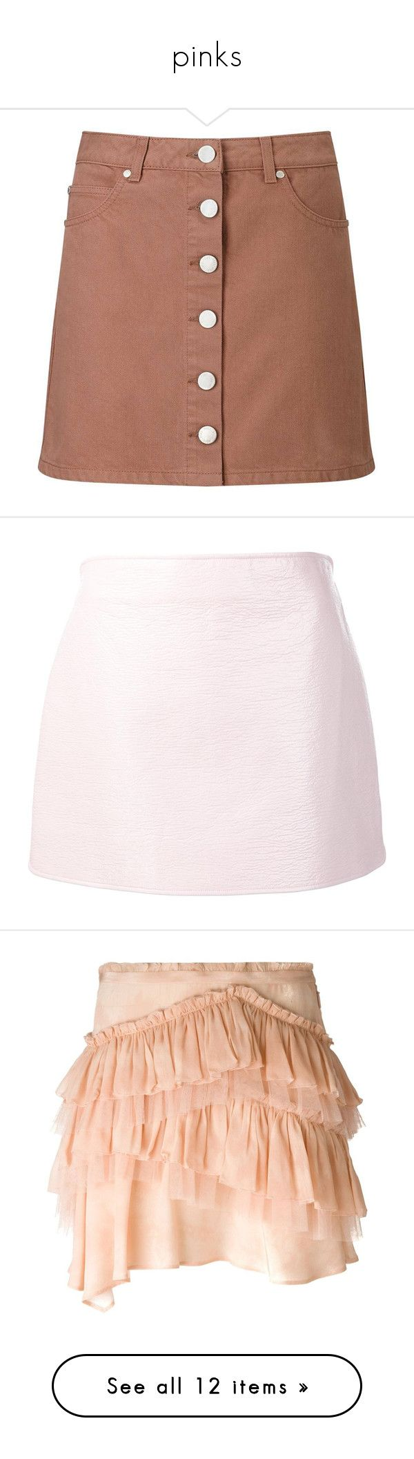 """pinks"" by jeniferkcarsrud ❤ liked on Polyvore featuring skirts, mini skirts, bottoms, pink, miss selfridge skirts, pink mini skirt, pink skirt, short pink skirt, short skirts and light pink mini skirt"