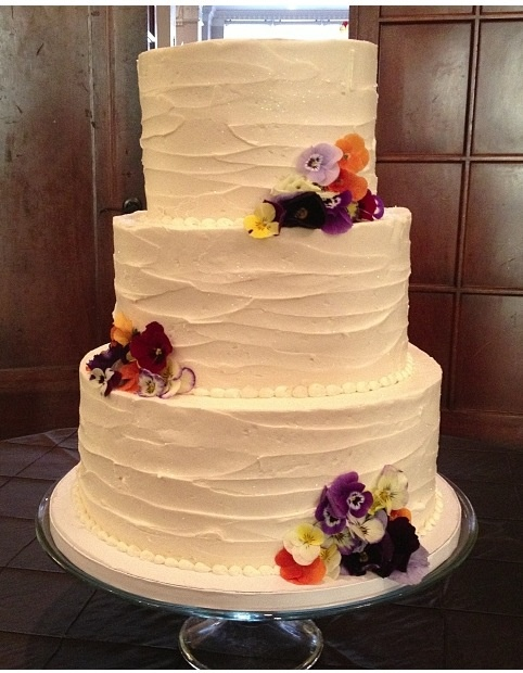 Vintage buttercream wedding cake with fresh pansies Cami's Cake Co ...