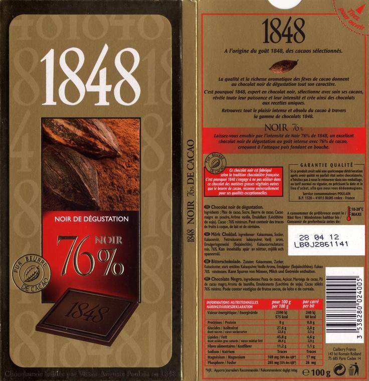 tablette de chocolat noir dégustation poulain 1848 noir de dégustation 76