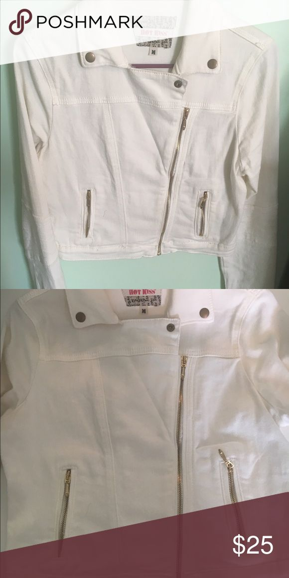 White jean jacket White jean jacket with gold zippers Hot Kiss Jackets & Coats Jean Jackets