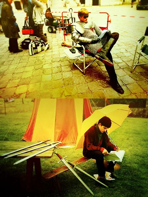 BBC Merlin | Haha! Colin isn't allowed to get tan  so he has to sit under an umbrella!