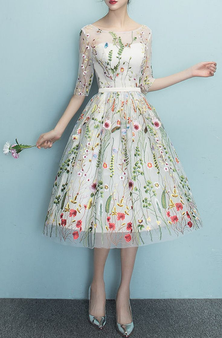 27461481cb0 Sizes S-XL Champagne White Floral Embroidery Midi Dress - Gorgeous vintage  Style A-line dress with colorful embroidered flowers on sheer fabric    sweetheart ...