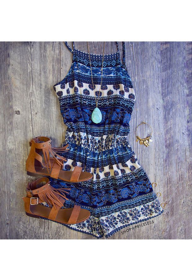 Chasing The Sun Romper - Blue