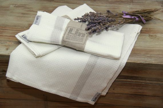 Kitchen tea towels set of 2 by lininline on Etsy
