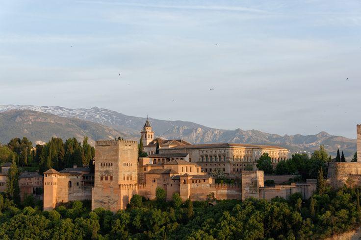 vom Mirador San Nicolas, Alhambra, Abendstimmung, Granada, Spain