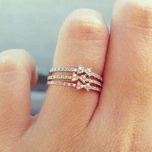 bows, silver, gold, and rose gold stackable bow rings! So cute and sparkly!
