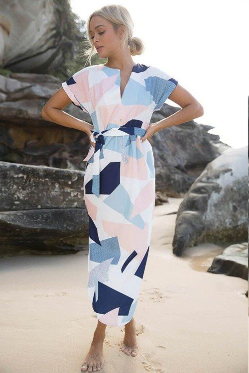 Women Geometric Print  Wrap Dress