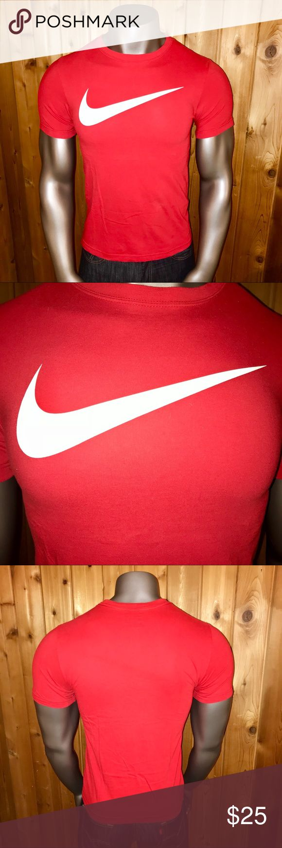 Nike Swoosh Logo Men's Small T-Shirt Size: U.S. Men's Small Color: Red/White Logo Official Nike Product Regular Fit 100% Cotton Made in Honduras  Excellent Condition! No rips, stains, tears, pulls, pills or fading  T-Shirt comes from a smoke and pet free  http://feedproxy.google.com/fashionshoes1