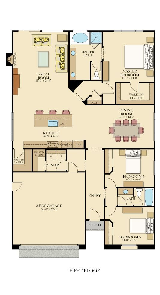One-level floor plan from @lennarinlandla featuring 3 bedrooms, 2 bathrooms, a gourmet kitchen with a walk-in pantry, and a great room with a fireplace!