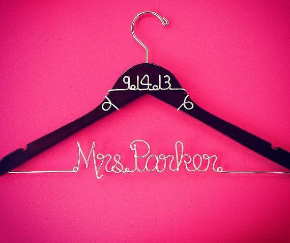 Personalized custom wire wedding hanger and date bridal for Personalized wire wedding dress hanger