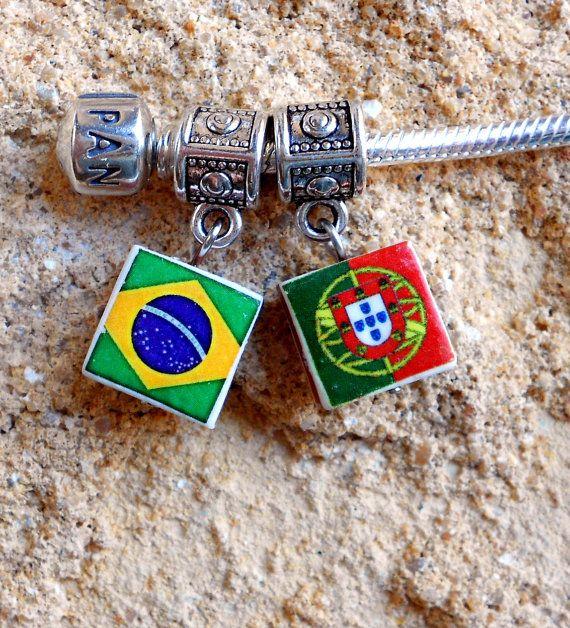 Portugal Flag Brazil Brasil FLAG PENDANT Brazilian by Atrio