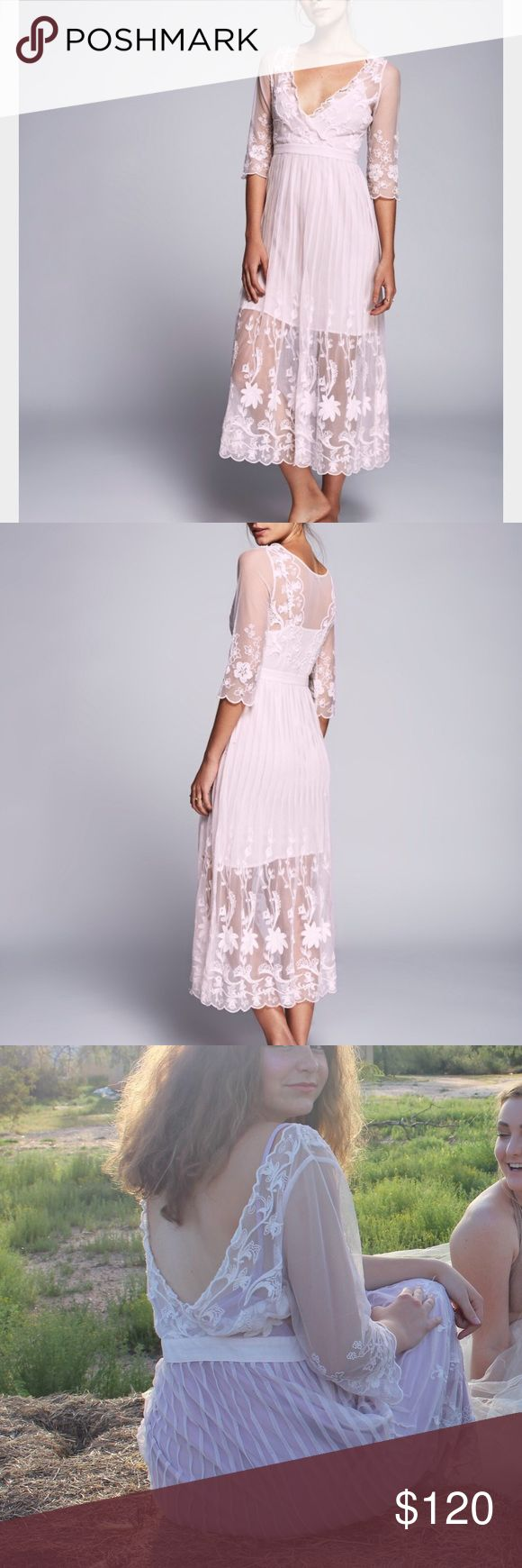 Free People Friends Forever Dress Beautiful lilac Maxi Dress with gorgeous detailing. The last two photos picture it worn backwards for a higher neckline. This is a large but fits more like a medium. All offers and trades are considered. $90 on venmo/PayPal Free People Dresses Maxi