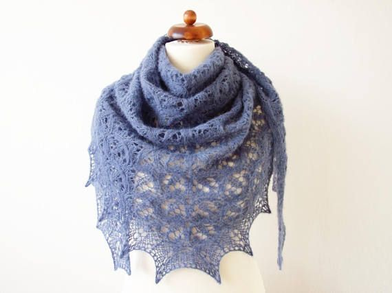 blue lace shawl lace triangle shawl denim blue alpaca silk