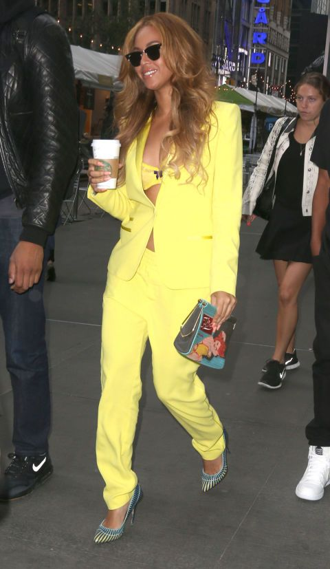 Beyoncé in New York wearing a Stella McCartney romper. See all of the singer's best looks.