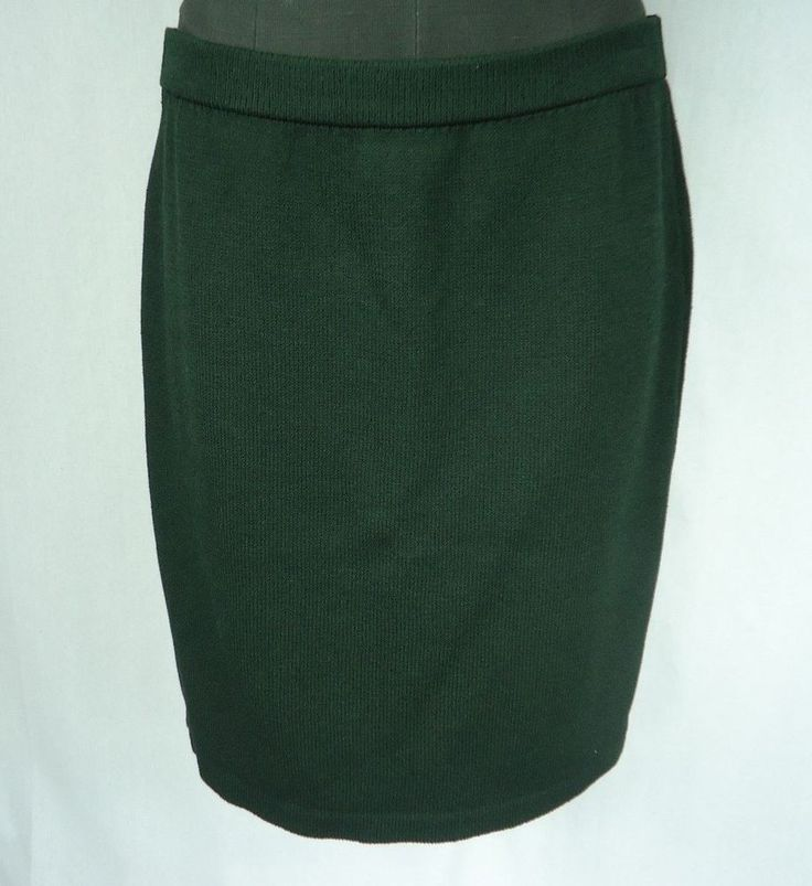 ST JOHN COLLECTION By Marie Gray Skirt Size 12 Dark Green Knit Wear To Work #StJohn #StretchKnit