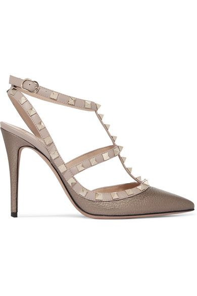 Heel measures approximately 100mm/ 4 inches  Bronze and blush textured-leather Buckle-fastening ankle strap Made in Italy