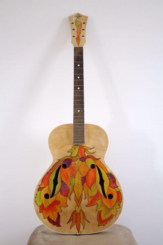 """Painted guitar by Aspasija T. P. """"Fall"""""""