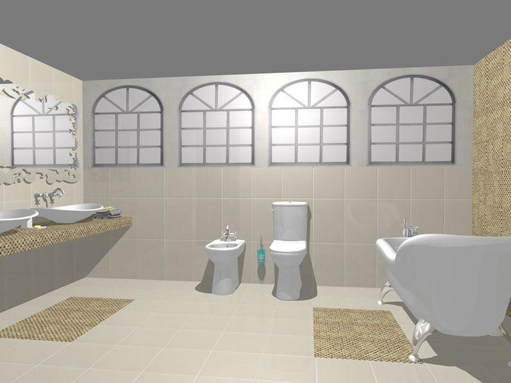 Model de design pentru baie realizat cu gresie şi faianţă din colecţia Bourgie şi mozaic Formosa.