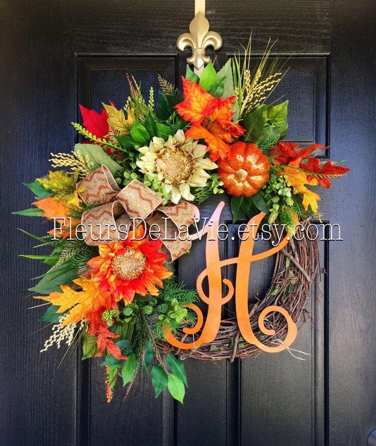 NEW Fall Wreath for Door Monogram Wreaths Fall by FleursDeLaVie