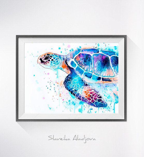 Zeeschildpad aquarel afdrukken, karetschildpad kunst met dierlijke aquarel, dierlijke illustratie, zee kunst, schildpad print, dierlijke kunst  Koop