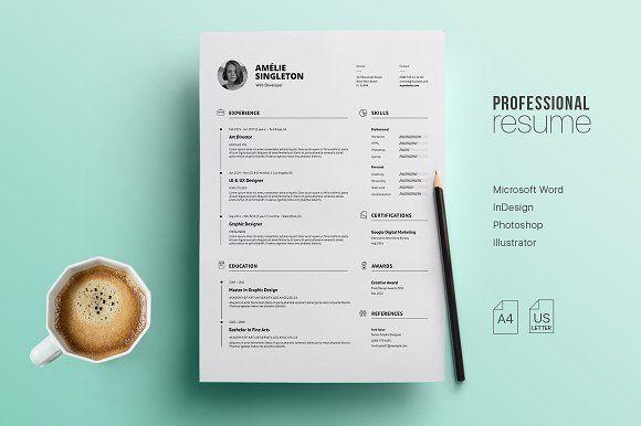 Professional Resume Template by Nicodin on @creativemarket