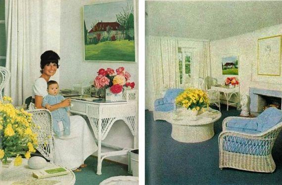 Audrey Hepburn con su hijo Sean en el escritorio y una sala de estar