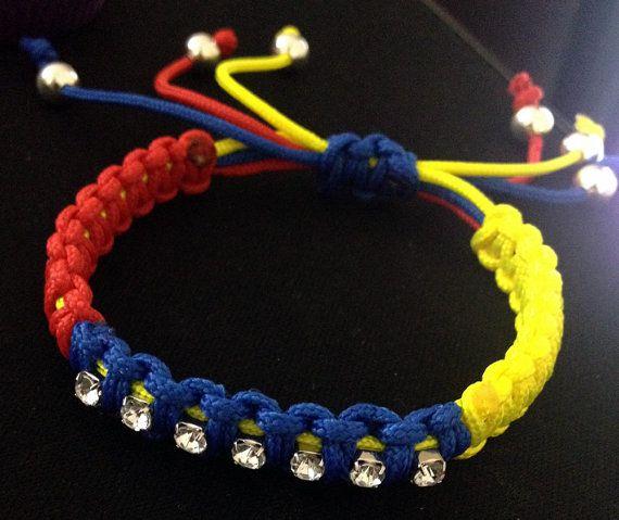 Venezuela bracelet for women / parachute cord / with 7 sparkling 'stars' - SOS Venezuela - Show your support, $15.00