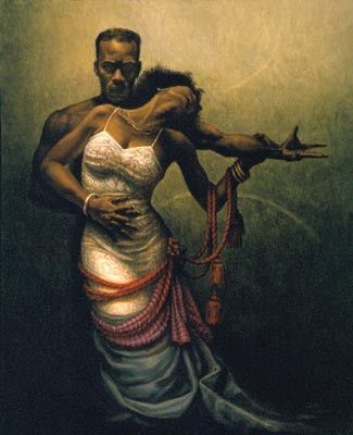 Forever My Queen by Jay C. Bakari 10/16/16 I like this painting because of the distinction between the strong broader figure of man, compared to the more fragile delicate figure of woman.