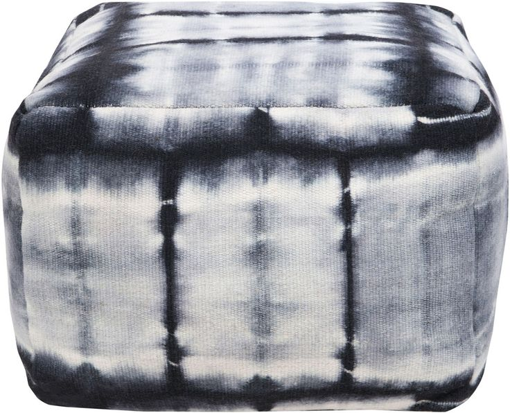 This square pouf with a tie dye pattern in black and gray will add that retro feel to your space.