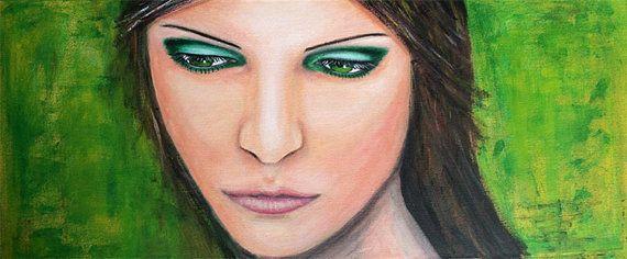 Schilderij vrouw met groene ogen groene oogschaduw door RingDesignNL