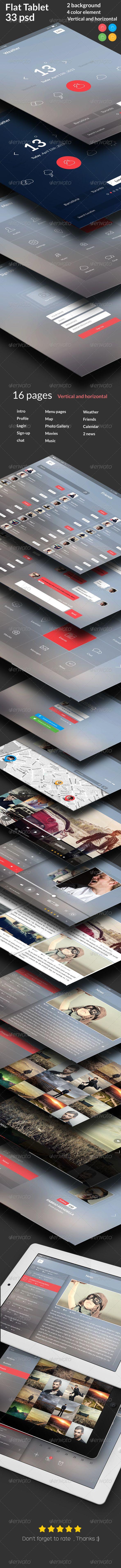 Flat Tablet UI KIT - User Interfaces Web Elements
