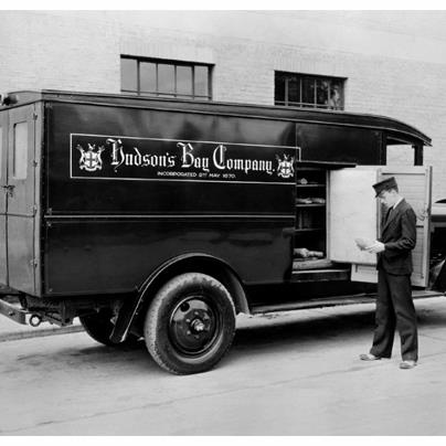 Home-delivery service was a key component of the success of Hudson's Bay Company's retail operations, then and now. Teams of horses and wagons gave way to fleets of delivery trucks, like this one from 1932.