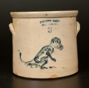 "Extremely Rare Dinosaur Crock. Two-Gallon Stoneware Crock with Cobalt Decoration of a Tyrannosaurus Rex, Stamped ""FULPER BROS. / FLEMINGTON, NJ,"" circa 1890. The only known example of American stoneware with depiction of a dinosaur."