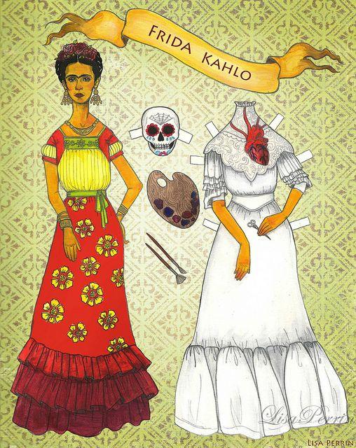 Frida Kahlo paper doll by LisaPerrinArt, via Flickr