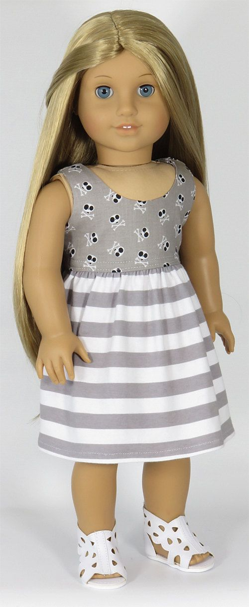 American Girl Doll Clothes. Gray Skull and Stripe Dress.